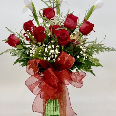 Dozen Red Roses with White Irises