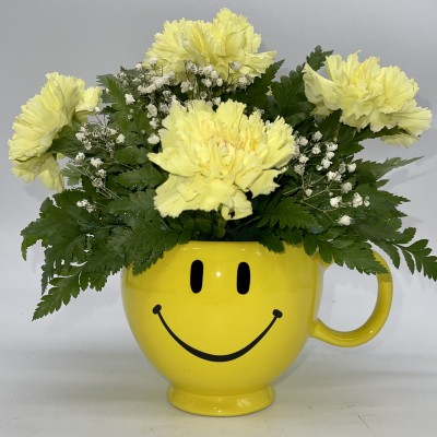 Smiley face carnations